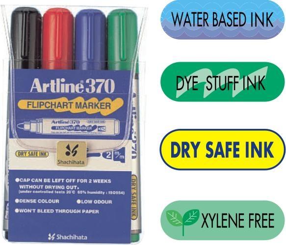 Flipchart marker ARTLINE 370 - Dry safe ink, corp plastic, varf rotund 2.0mm, 4 culori/set [0]
