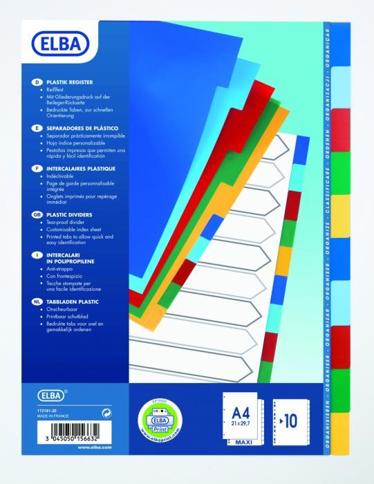 Separatoare plastic color, A4 XL, 120 microni, 10 culori/set, ELBA [0]