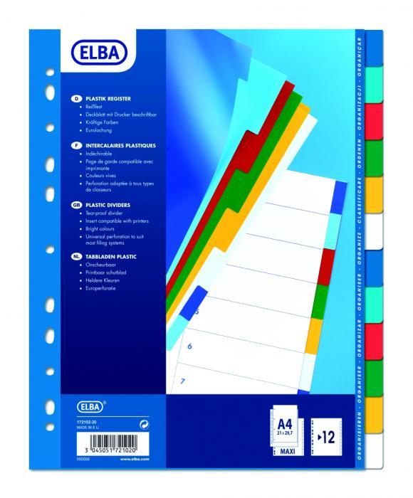 Separatoare plastic color, A4 XL, 120 microni, 12 culori/set, ELBA 0