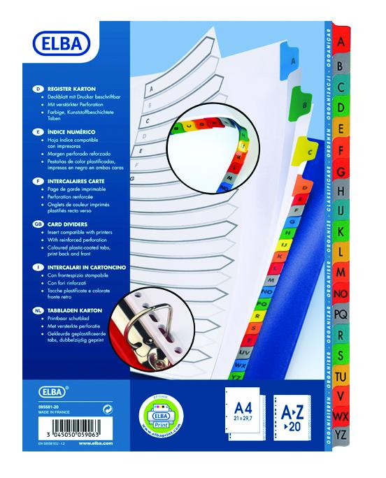 Index plastic color alfabetic A-Z, A4 XL, 120 microni, ELBA [0]