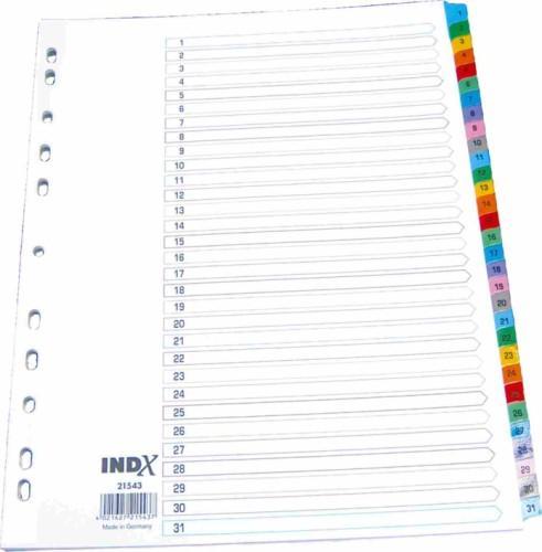 Index carton alb Mylar numeric 1-31, margine PP color, A4, 190g/mp, Optima [0]