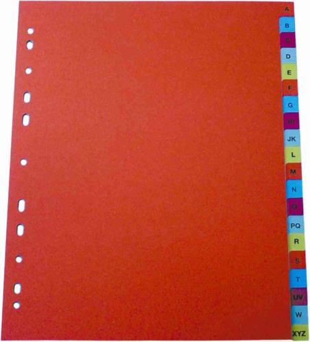 Index plastic color, alfabetic A-Z, A4, 125 microni, Optima 0