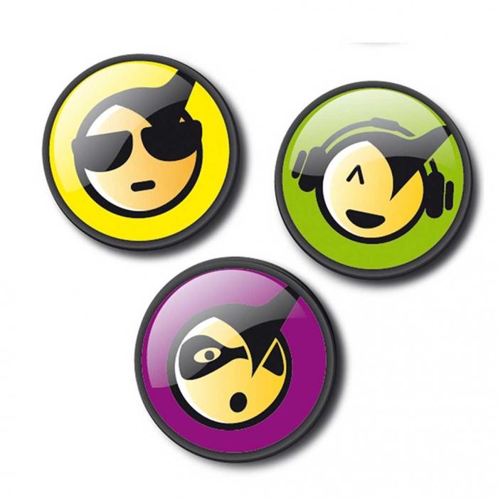 Insigne, 3buc/set, Roller NIKIDOM - Emoticonos Cool 0