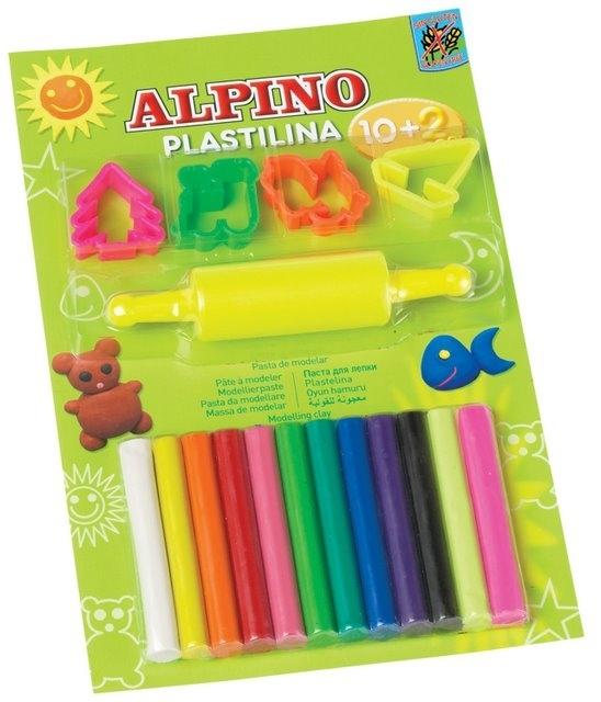 Kit 10 +2 culori x 17gr plastilina + 4 forme modelaj + roller, in blister, ALPINO 0