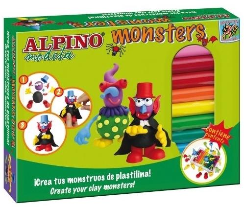Kit 12 culori plastilina + 4 seturi accesorii, ALPINO Monsters 0