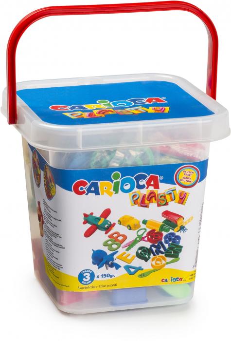 Kit 3 culori x 150gr plastilina + 41 forme modelaj + accesorii, CARIOCA Plasty [0]