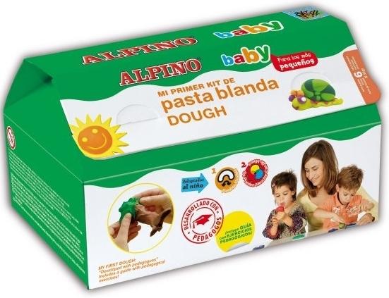 Kit 6 culori x 35gr plastilina + 10 forme modelaj + roller, ALPINO Baby 0