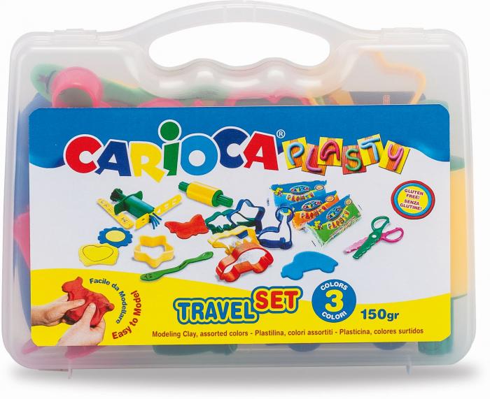 Kit 6 culori x 50gr plastilina + 10 forme modelaj + accesorii, CARIOCA Plasty [0]