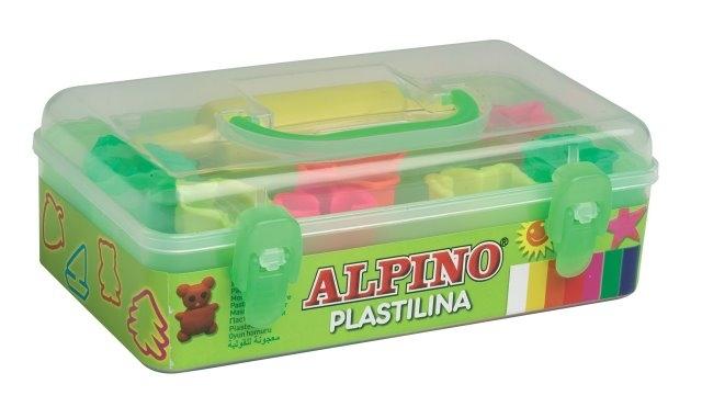 Kit 7 culori x 90gr plastilina + 7 forme modelaj + roller, ALPINO 0