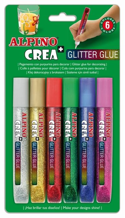 Lipici Glitter Classic, 6 buc/blister, ALPINO Crea+ 0