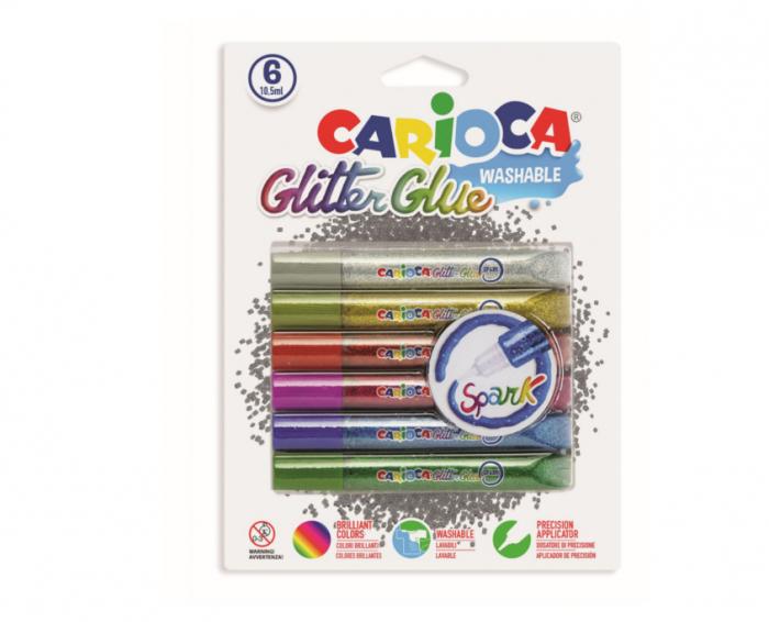 Lipici Glitter, lavabil, 6 culori/blister, CARIOCA Glitter Glue Spark [0]