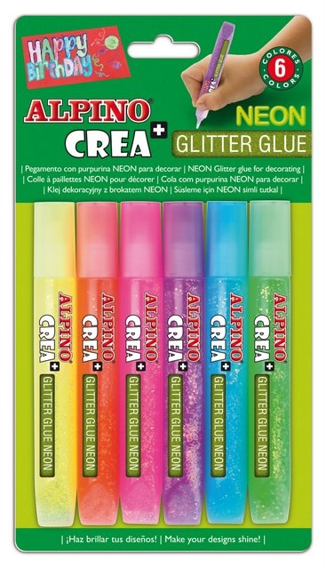Lipici Glitter Neon, 6 buc/blister, ALPINO Crea+ 0