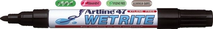 Marker ARTLINE 47, pentru suprafete umede, corp metalic, varf rotund 1.5mm - negru [0]