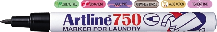 Marker ARTLINE 750, pentru textile, corp metalic, varf rotund 0.7mm - negru [0]