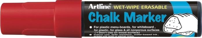Marker cu creta ARTLINE, pentru table de scris, varf 12.0mm - rosu 0