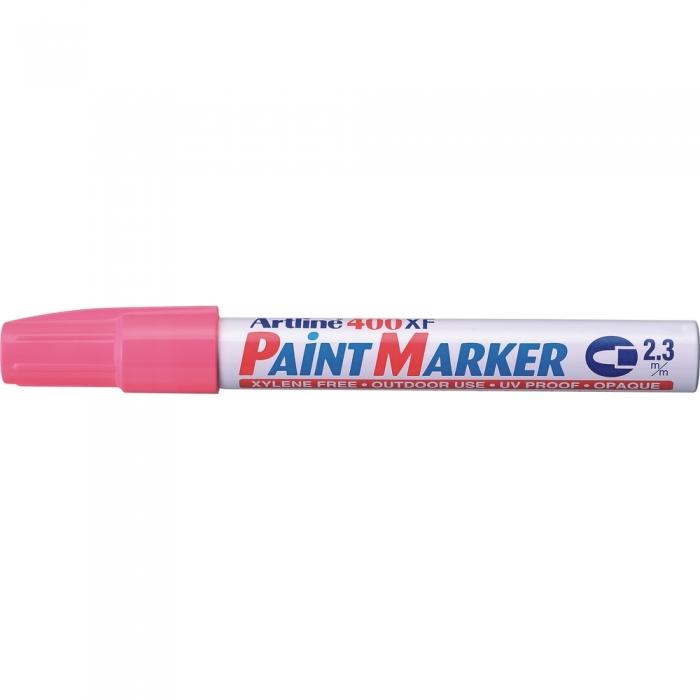 Marker cu vopsea ARTLINE 400XF, corp metalic, varf rotund 2.3mm - roz [0]