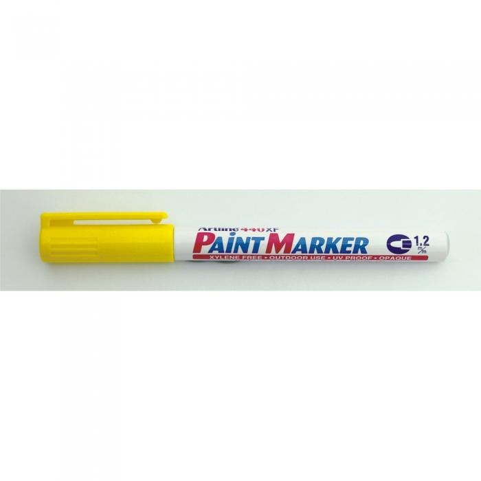 Marker cu vopsea ARTLINE 440XF, corp metalic, varf rotund 1.2mm - galben [0]