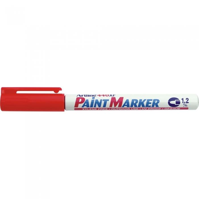 Marker cu vopsea ARTLINE 440XF, corp metalic, varf rotund 1.2mm - rosu [0]