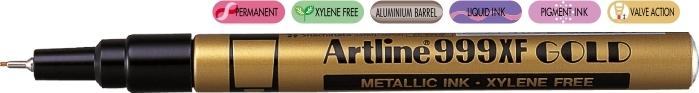 Marker cu vopsea ARTLINE 999XF, corp metalic, varf rotund 0.8mm - auriu [0]