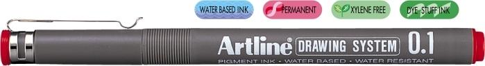 Marker pentru desen tehnic ARTLINE, varf fetru 0.1mm - rosu [0]
