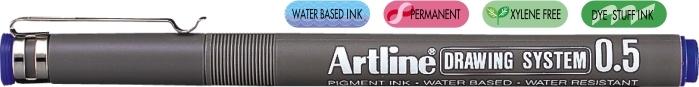 Marker pentru desen tehnic ARTLINE, varf fetru 0.5mm - albastru [0]