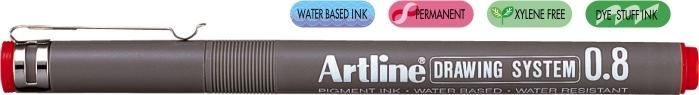 Marker pentru desen tehnic ARTLINE, varf fetru 0.8mm - rosu [0]