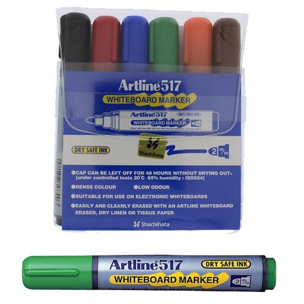 Marker pentru tabla de scris ARTLINE 517 - Dry safe ink, varf rotund 2.0mm, 6 culori/set 0
