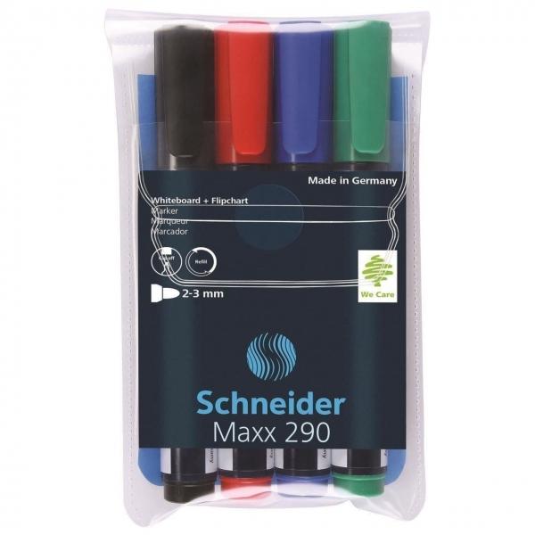 Marker SCHNEIDER Maxx 290, pentru tabla de scris+flipchart, varf rotund 2-3mm, 4 cul/set - (N,R,A,V) 0