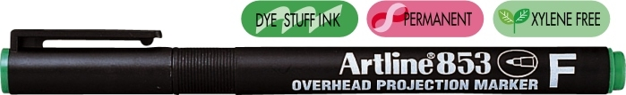OHP Permanent marker ARTLINE 853, varf fin - 0.5mm - verde [0]