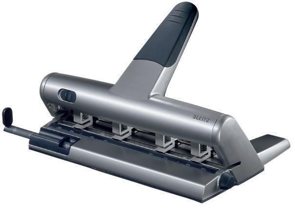 Perforator metalic LEITZ 5114, pentru 4 perforatii, distante reglabile,  30 coli - argintiu 2