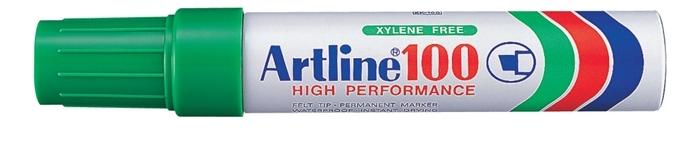 Permanent marker ARTLINE 100, corp metalic, varf tesit 7.5-12.0mm - verde [0]