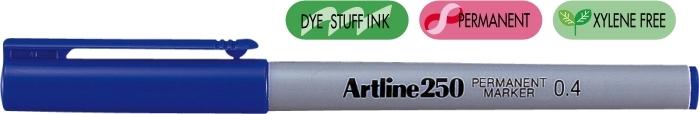 Permanent marker ARTLINE 250, corp plastic, varf rotund 0.4mm - albastru [0]