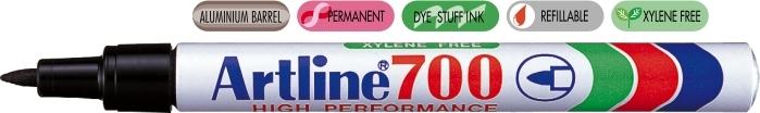 Permanent marker ARTLINE 700, corp metalic, varf rotund 0.7mm - negru [0]