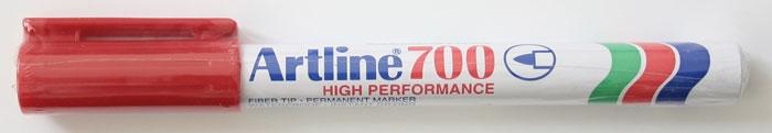 Permanent marker ARTLINE 700, corp metalic, varf rotund 0.7mm - rosu [0]