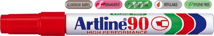 Permanent marker ARTLINE 90, corp metalic, varf tesit 2.0-5.0mm - rosu [0]