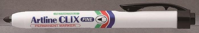 Permanent marker ARTLINE Clix 703, corp plastic, mecanism retractabil, varf rotund - negru [0]