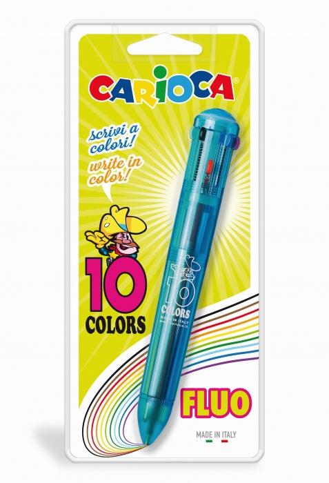 Pix cu 10 culori fluorescente, corp transparent color, blister, CARIOCA 0
