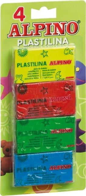 Plastilina standard, 4 culori x 50 grame/blister, ALPINO 0