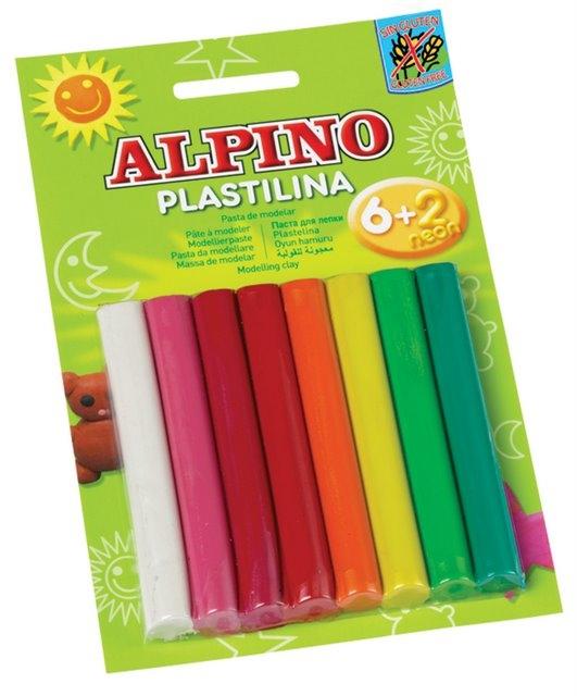 Plastilina standard, 6 + 2 neon x 17 gr./blister, ALPINO - 8 culori asortate 0