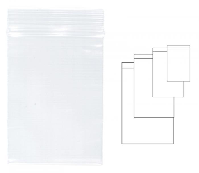 Pungi plastic cu fermoar pentru sigilare,  80 x 120 mm, 100 buc/set, KANGARO - transparente 0