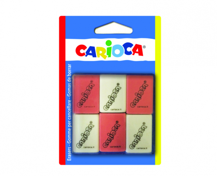 Radiere dreptunghiulare, 6 buc/blister, CARIOCA - albe/rosii [0]