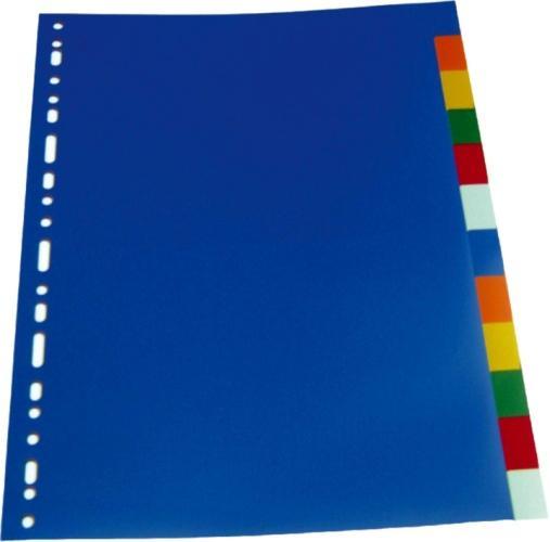 Separatoare plastic color, A4, 120 microni, 10 culori/set, Optima 0