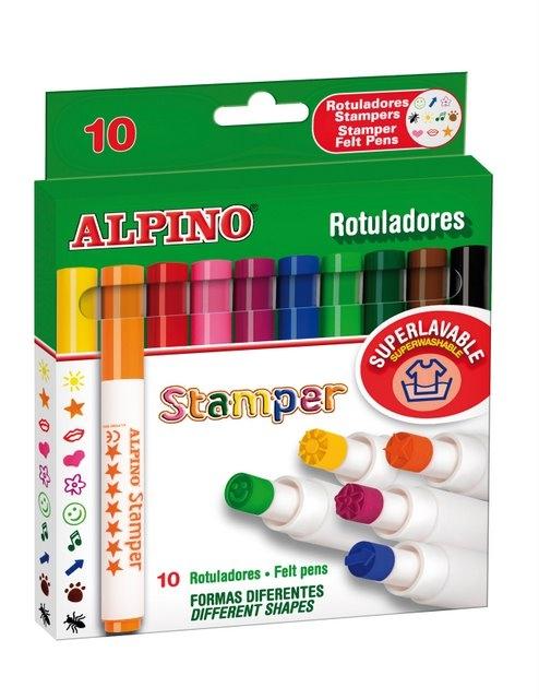 Set 10 stampile, diverse forme, cutie carton, ALPINO Fantasy [0]
