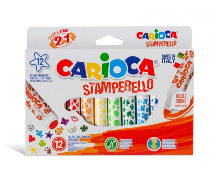Set 12 markere lavabile, cu 12 stampile diverse forme, cutie carton, CARIOCA Stamperello [0]
