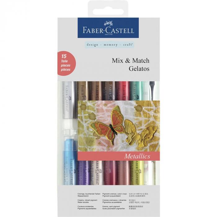 Set 12 Pasteluri Solubile Gelatos si 3 Accesorii Culori Metalice Faber-Castell 1