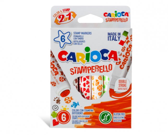 Set 6 markere lavabile, cu 6 stampile diverse forme, cutie carton, CARIOCA Stamperello [0]