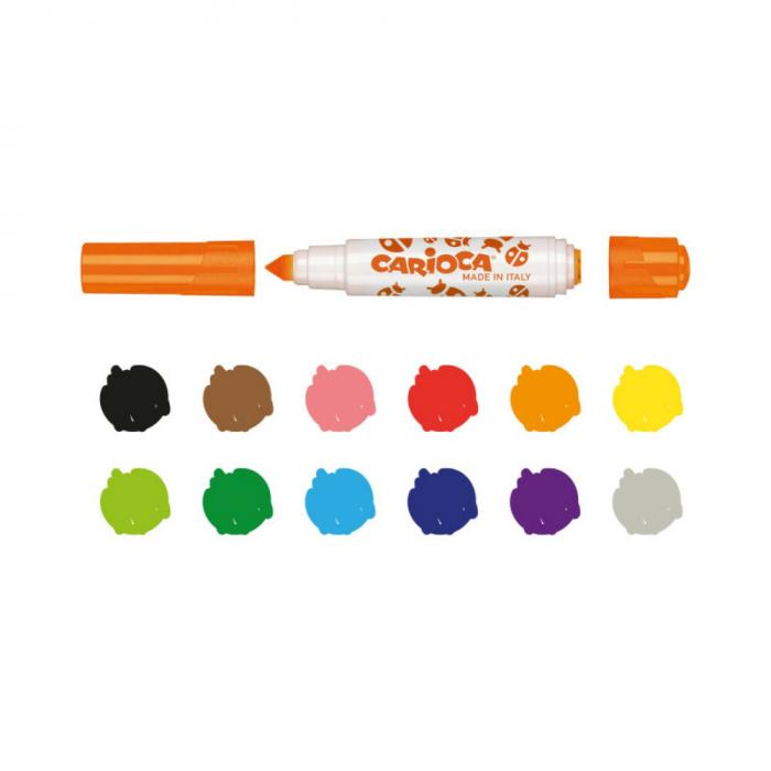 Set 6 markere lavabile, cu 6 stampile diverse forme, cutie carton, CARIOCA Stamperello [2]