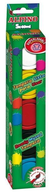 Tempera lavabila, 5 culori x 40ml/cutie + pensula gratis, Alpino 0