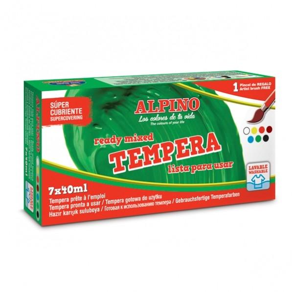 Tempera lavabila, 7 culori x 40ml/cutie + pensula gratis, Alpino 0