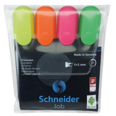Textmarker SCHNEIDER Job, varf lat, 4 culori/set - (G, O, V, R) [0]